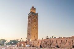 Άποψη πρωινού του μουσουλμανικού τεμένους Koutoubia στο Μαρακές στοκ εικόνα με δικαίωμα ελεύθερης χρήσης