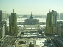 Άποψη πόλεων από τον πύργο Baiterek Στο σουλτάνο Nur, Καζακστάν στοκ εικόνες