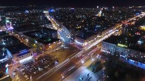 Άποψη πόλεων νύχτας από την κορυφή hyperlapse и timelapse απόθεμα βίντεο