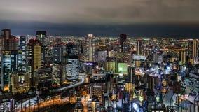 Άποψη πόλεων της Οζάκα από τη στέγη οικοδόμησης ουρανού Umeda στοκ εικόνες