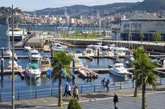 Άποψη πόλεων του Vigo με τη μαρίνα και το θαλάσσιο λιμένα στοκ εικόνες με δικαίωμα ελεύθερης χρήσης