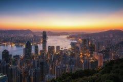 Άποψη πόλεων Χονγκ Κονγκ το πρωί στοκ εικόνα με δικαίωμα ελεύθερης χρήσης