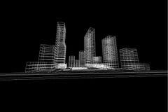 Άποψη πόλεων, αφηρημένη, τρισδιάστατη απεικόνιση αρχιτεκτονικής Στοκ Εικόνες