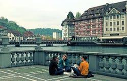 Άποψη πόλεων Λουκέρνης με τον ποταμό Reuss, Ελβετία Στοκ εικόνα με δικαίωμα ελεύθερης χρήσης