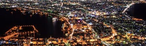 Άποψη πόλεων νύχτας του Hakodate Στοκ Εικόνα
