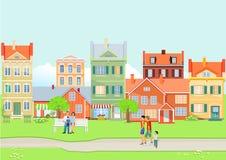 Άποψη πόλεων το καλοκαίρι ελεύθερη απεικόνιση δικαιώματος