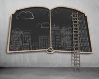 Άποψη πόλεων doodles σχετικά με τον πίνακα μορφής βιβλίων Στοκ Εικόνες