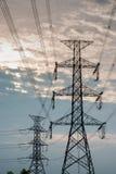 Άποψη σκιαγραφιών της θέσης ηλεκτρικής ενέργειας Στοκ Εικόνες