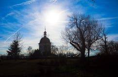 Άποψη σκιαγραφιών του πύργου Glockenturm στο λόφο Schlossberg, Γκραζ Στοκ Φωτογραφία