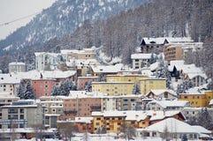 Άποψη στα κτήρια του ST Moritz, Ελβετία Το StMoritz είναι το διάσημο χιονοδρομικό κέντρο στην Ελβετία Στοκ εικόνες με δικαίωμα ελεύθερης χρήσης