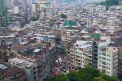 Άποψη στα στο κέντρο της πόλης κατοικημένα κτήρια του Μακάο στο Μακάο, Κίνα Στοκ Εικόνες