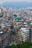 Άποψη στα στο κέντρο της πόλης κατοικημένα κτήρια του Μακάο στο Μακάο, Κίνα Στοκ Φωτογραφίες