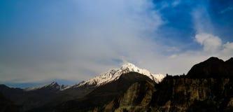 Άποψη στην αιχμή Rakaposhi, βουνά Πακιστάν Karakorum Στοκ εικόνα με δικαίωμα ελεύθερης χρήσης