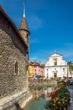 Άποψη στην εκκλησία Αγίου Francois de Sales από Palace de Ille στο Annecy - τη Γαλλία Στοκ εικόνα με δικαίωμα ελεύθερης χρήσης
