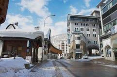 Άποψη στην οδό του ST Moritz, Ελβετία Στοκ Εικόνες