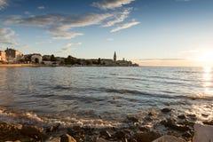 άποψη στην παλαιά πόλη Porec στο ηλιοβασίλεμα Κροατία Στοκ Εικόνες