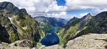 Άποψη στη μαύρα λίμνη και το μάτι της θάλασσας από Tatras Στοκ Φωτογραφίες