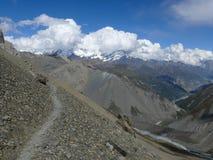 Άποψη στον ποταμό Chulu και Marsyangdi κοντά στο στρατόπεδο βάσεων Tilicho, Νεπάλ Στοκ Εικόνα