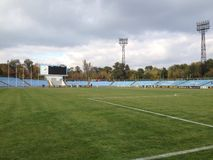 Άποψη στο γήπεδο ποδοσφαίρου Στοκ εικόνα με δικαίωμα ελεύθερης χρήσης
