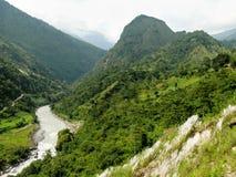 Άποψη στο κύκλωμα Bahundanda - Annapurna - Νεπάλ Στοκ Εικόνες
