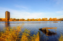 Άποψη στο νησί Zakusala στον ποταμό Daugava Στοκ Εικόνες