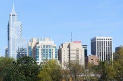 Άποψη σχετικά με στο κέντρο της πόλης Raleigh, NC Στοκ Φωτογραφία