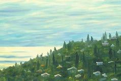 Άποψη σχετικά με την ακροθαλασσιά με το χωριό και τα δέντρα διανυσματική απεικόνιση