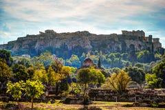 Άποψη σχετικά με την ακρόπολη από την αρχαία αγορά, Αθήνα, Ελλάδα Στοκ Φωτογραφίες