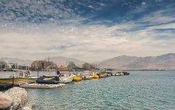 Άποψη σχετικά με την κεντρική παραλία σε Eilat Στοκ εικόνα με δικαίωμα ελεύθερης χρήσης