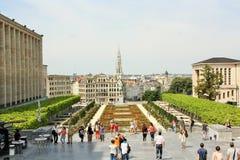 Άποψη σχετικά με την παλαιά πόλη των Βρυξελλών από Mont des Arts Στοκ φωτογραφία με δικαίωμα ελεύθερης χρήσης