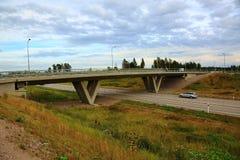 Άποψη σχετικά με τη γέφυρα πέρα από την εθνική οδό Στοκ Φωτογραφίες