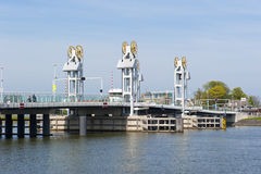 Άποψη σχετικά με τη γέφυρα IJssel στην πόλη Kampen, οι Κάτω Χώρες Στοκ Εικόνα