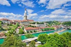 Άποψη σχετικά με τη γοητευτική παλαιά πόλη της Βέρνης, Ελβετία Στοκ φωτογραφίες με δικαίωμα ελεύθερης χρήσης