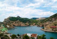 Άποψη σχετικά με τη Μαύρη Θάλασσα και τον κόλπο Balaklava Στοκ Φωτογραφία