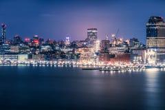 Άποψη σχετικά με τη νύχτα Μανχάταν, Νέα Υόρκη στοκ εικόνα