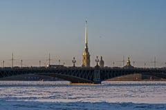 Άποψη σχετικά με τον ποταμό Neva, Peter και φρούριο του Paul, καθεδρικός ναός του Peter και του Paul και γέφυρα τριάδας Στοκ Εικόνα