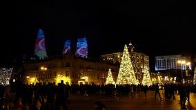 Άποψη σχετικά με τους πύργους Flsme και το τετράγωνο του Μπακού στο νέο έτος απόθεμα βίντεο
