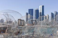 Άποψη σχετικά με το Αμπού Ντάμπι από το λιμάνι αλιείας στοκ φωτογραφία με δικαίωμα ελεύθερης χρήσης