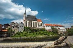 Άποψη σχετικά με το ιστορικό κέντρο Cesky Krumlov Ευρώπη Στοκ εικόνα με δικαίωμα ελεύθερης χρήσης