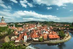 Άποψη σχετικά με το ιστορικό κέντρο Cesky Krumlov Ευρώπη Στοκ Εικόνα