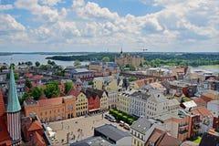 Άποψη σχετικά με το ιστορικό κέντρο Schwerin Στοκ Εικόνα