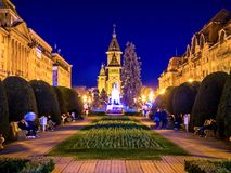 Άποψη σχετικά με το κύριο τετράγωνο σε Timisoara τη νύχτα στοκ φωτογραφία με δικαίωμα ελεύθερης χρήσης