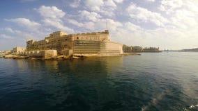 Άποψη σχετικά με το οχυρό Άγιος Angelo σε Birgu απόθεμα βίντεο