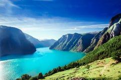 Άποψη σχετικά με το τοπίο της Νορβηγίας fiord - Aurlandsfjord, μέρος Sognefjord στοκ φωτογραφία με δικαίωμα ελεύθερης χρήσης