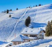 Άποψη σχετικά με το υποστήριγμα Rigi στην Ελβετία το χειμώνα Στοκ φωτογραφία με δικαίωμα ελεύθερης χρήσης
