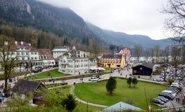 Άποψη σχετικά με το χωριό Hohenschwangau, Βαυαρία, Γερμανία Στοκ εικόνα με δικαίωμα ελεύθερης χρήσης