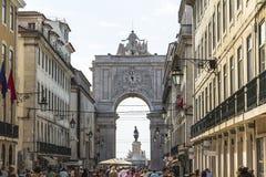 Άποψη σχετικά με Arco DA Rua Αουγκούστα στη Λισσαβώνα, Πορτογαλία Στοκ Φωτογραφίες