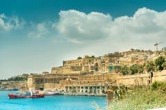 Άποψη σχετικά με Valletta από τη θάλασσα στη Μάλτα Στοκ φωτογραφίες με δικαίωμα ελεύθερης χρήσης