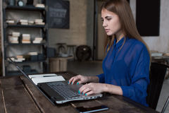 Άποψη σχεδιαγράμματος της επιτυχούς νέας καυκάσιας επιχειρηματία που χρησιμοποιεί ένα lap-top, δακτυλογραφώντας το ηλεκτρονικό τα Στοκ φωτογραφίες με δικαίωμα ελεύθερης χρήσης