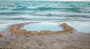 Άποψη της άμμου και του νερού στην παραλία Στοκ Φωτογραφία